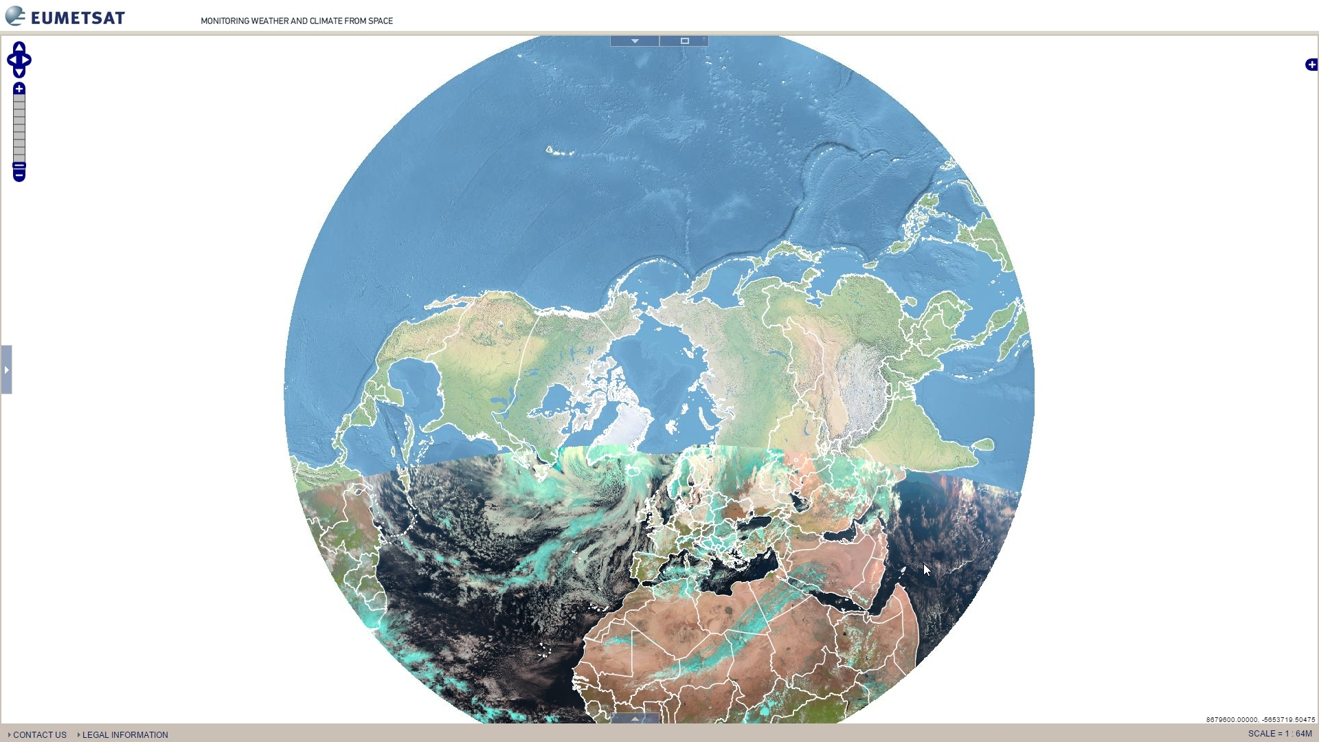 EUMETVIEW support for polar projection at work