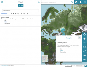 New text widget available for dashboards and maps