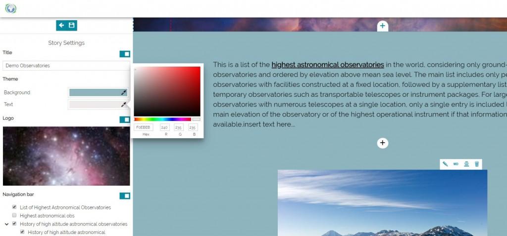 GeoStory - Custom Theme Editor