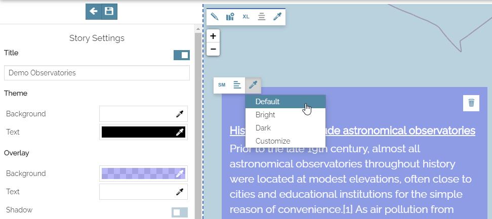Story settings panel