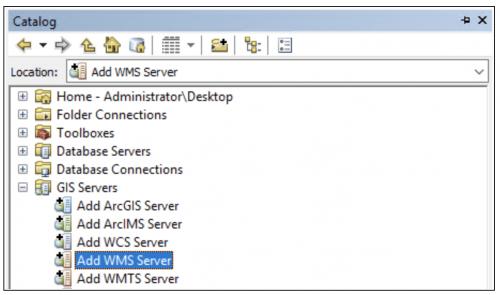 Adding WMS Server in ArcMap Catalog