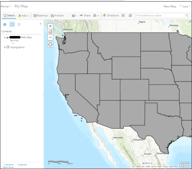 States layer from GeoServer shown in AGOL