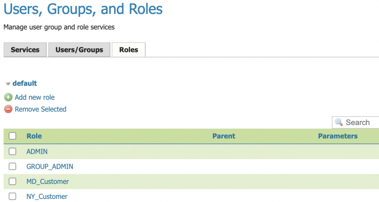 Users groups and roles